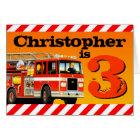 Kids Custom Name Red Fire Truck Happy 3rd Birthday Card