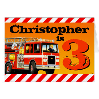Kids Custom Name Red Fire Truck Happy 3rd Birthday Card