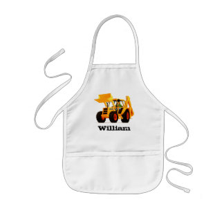 Kid's Custom Name Yellow Digger Kids Apron