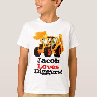Kid's Custom Name Yellow Digger T-Shirt