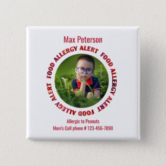 Kids Custom Photo Food Allergy Medical Alert 15 Cm Square Badge