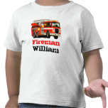 Kid's Custom Red Fire Truck Tee Shirt