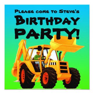 Kid's Custom Yellow Digger Construction Party 13 Cm X 13 Cm Square Invitation Card
