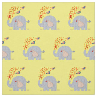 Kids Cute Alphabet Elephant and Chick Birds Fabric