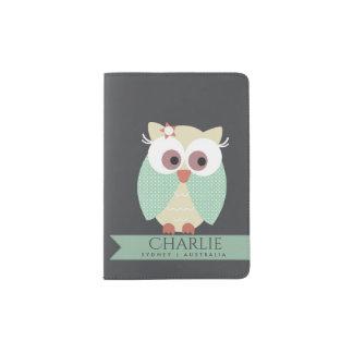 KIDS CUTE AQUA BLUE GREEN NAVY CUDDLY OWL MONOGRAM PASSPORT HOLDER