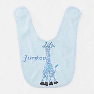 Kid's Cute Blue Giraffe Bib