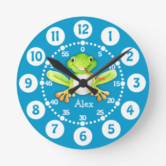 Kids cute frog green blue wall clock