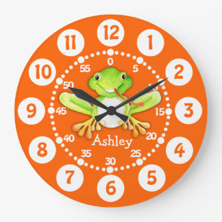 Kids cute frog orange green wall clock
