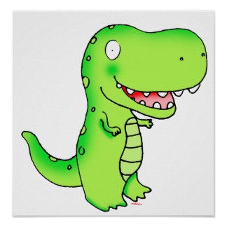 kids cute funny cartoon t-rex poster