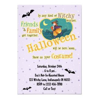 Kids Cute Halloween Party Witch Bat Cat Invitation