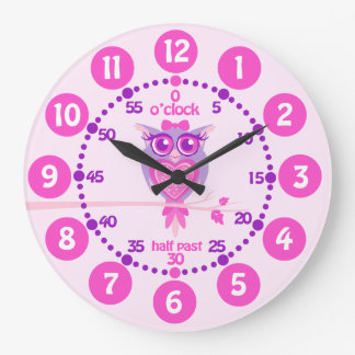 Kids cute owl pink purple wall clock