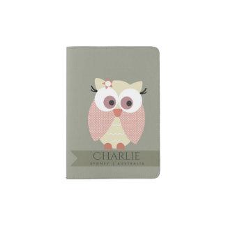 KIDS CUTE PINK PEACH GREY ADORABLE OWL MONOGRAM PASSPORT HOLDER