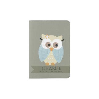 KIDS CUTE SKY BLUE GREY CHEERFUL OWL MONOGRAM PASSPORT HOLDER