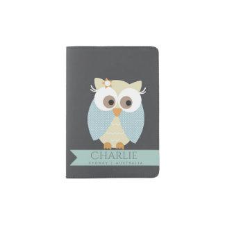 KIDS CUTE SKY BLUE NAVY OWL CHEERFUL MONOGRAM PASSPORT HOLDER
