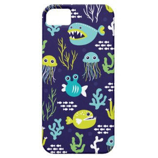 Kids deep sea fish marine illustration pattern iPhone 5 cover