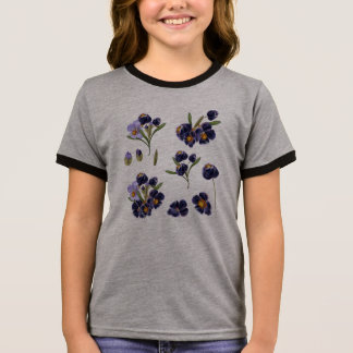 Kids designers tshirt with Folk flowers