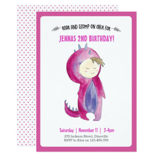 Kids Dinosaur Girl Birthday Invitation
