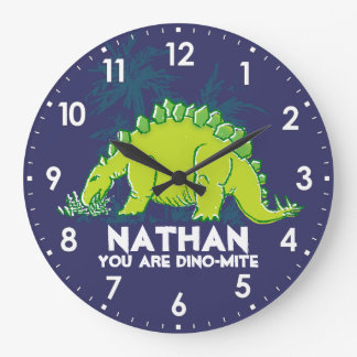Kids dinosaur Stegosaurus blue green name clock