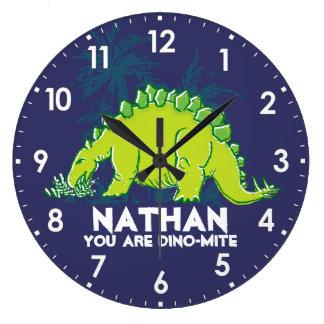 Kids dinosaur Stegosaurus blue green name clock