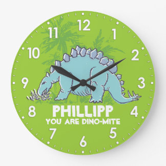 Kids dinosaur Stegosaurus green blue name clock