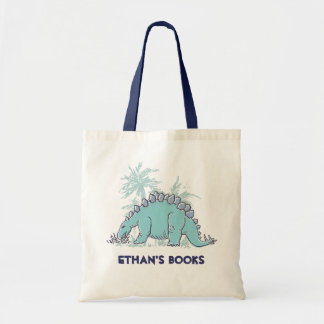 kids dinosaur Stegosaurus name id library tote Budget Tote Bag