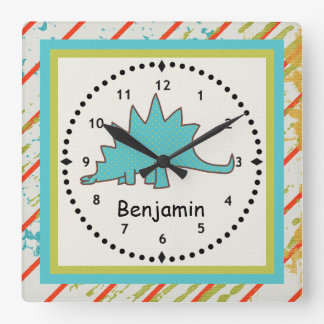 Kids' Dinosaur Wall Clock Blue Stegosaurus