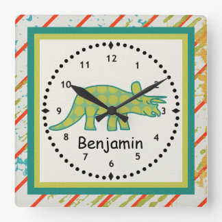 Kids' Dinosaur Wall Clock Green Tricerotops
