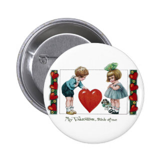 Kids, Dog and Big Heart Vintage Valentine 6 Cm Round Badge