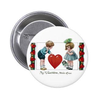 Kids, Dog and Big Heart Vintage Valentine 6 Cm Round Badge