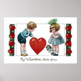 Kids, Dog and Big Heart Vintage Valentine Poster