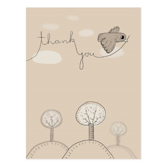 Kids Doodle Bird Trees Hills Thank You Postcard
