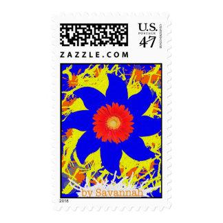Kids Doodle Blue Red Flower Postage Stamp