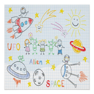 Kids drawing,space,aliens,universe,cute,kid,kawai,