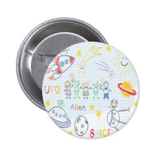 Kids drawing,space,aliens,universe,cute,kid,kawai, 6 cm round badge