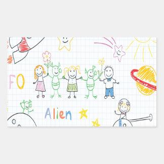 Kids drawing,space,aliens,universe,cute,kid,kawai, rectangle stickers