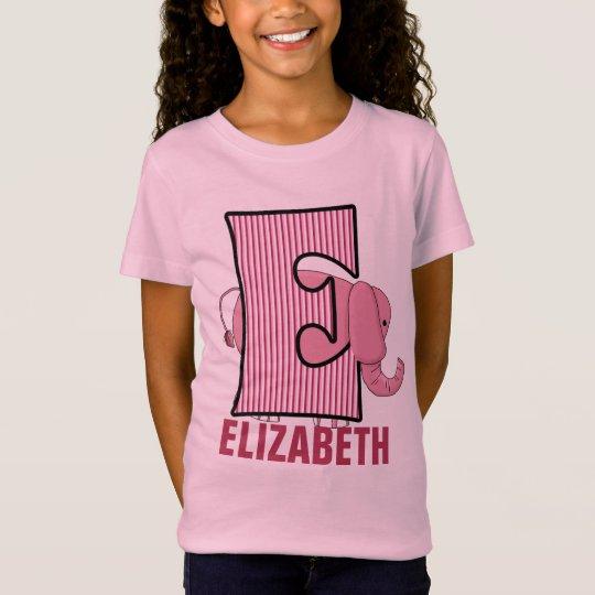 "Kids ""E"" Monogram | Pink Elephant | Striped"