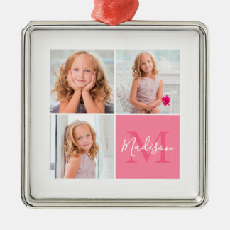 Kids Family Square Photo Monogram Christmas Christmas Ornament