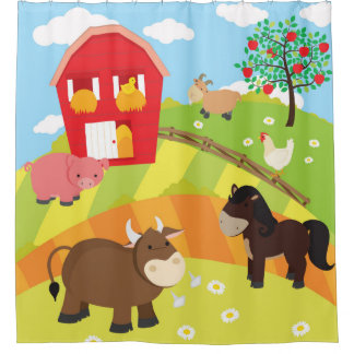 Kids Farm Animals, Farmer Theme Shower Curtain