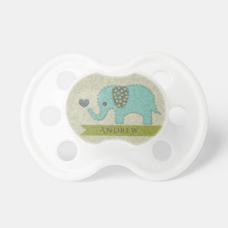 KIDS FELT PATCHWORK BLUE BABY ELEPHANT MONOGRAM DUMMY