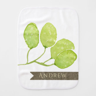 KIDS FELT PATCHWORK GREEN BABY ELEPHANT MONOGRAM BURP CLOTH