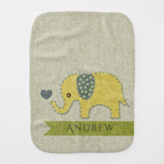 KIDS FELT PATCHWORK YELLOW BABY ELEPHANT MONOGRAM BURP CLOTH