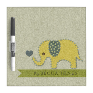 KIDS FELT PATCHWORK YELLOW BABY ELEPHANT MONOGRAM DRY ERASE WHITEBOARD