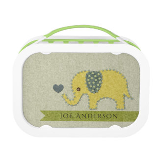 KIDS FELT PATCHWORK YELLOW BABY ELEPHANT MONOGRAM LUNCH BOX