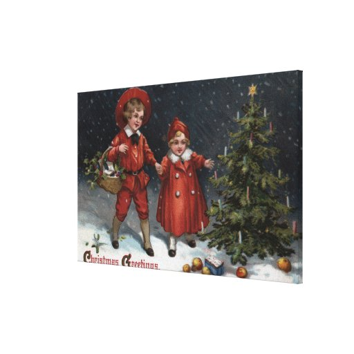 Kids Finished Decorating Tree Stretched Canvas Print