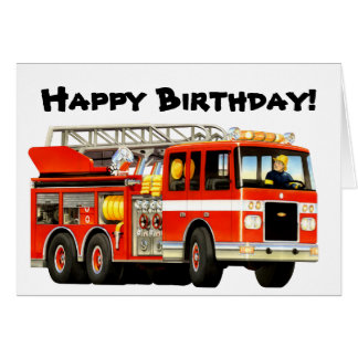 Kid's Fire Truck Birthday Card