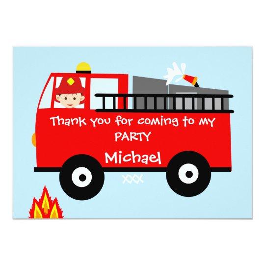 Kids Fire Truck Birthday Thank You Card
