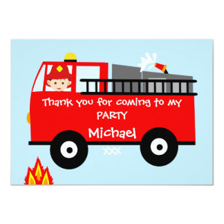 Kids Fire Truck Birthday Thank You Card 11 Cm X 16 Cm Invitation Card