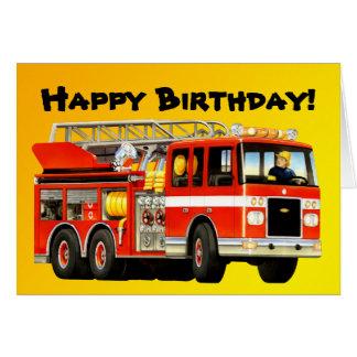Kid's Fire Truck Custom Happy Birthday Card