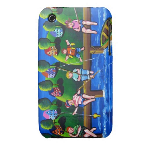Kids Fishing Fun Folk Art Phone Case iPhone 3 Cases