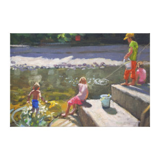 Kids fishing Looe Cornwall 2014 Canvas Print
